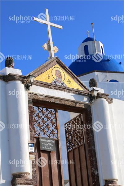 爱琴海圣托里尼岛——白色教堂