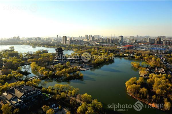湖水,济南,景区,景点,旅游,济南旅游,超然楼,建筑,古建筑,俯瞰,鸟瞰
