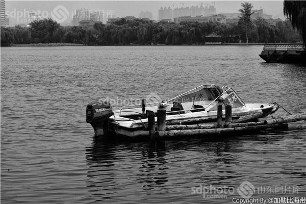 图片关键字:济南,大明湖,泉城,济南风光,黑白,黑白照,大明湖风光,船