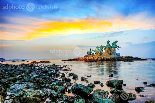 烟台,风光,晚霞,霞光,彩云,云,海滩,养马岛,蓝天,人间仙境,山海,礁石