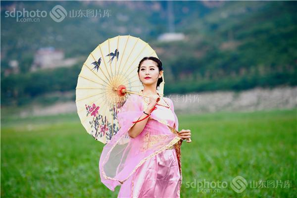 手绘古装美女 伞