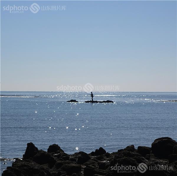 黄岛,胶南,早晨,清晨,晨,蓝,沙滩,灵山岛,海石,海,大海,海水,海边