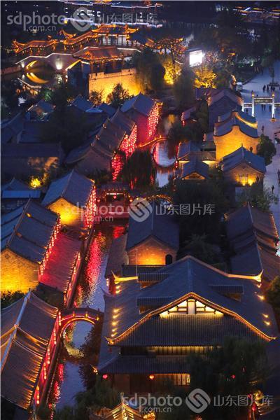 枣庄,台儿庄,古城,古代建筑,景点,景区,景区景点,航拍,夜景,夜晚